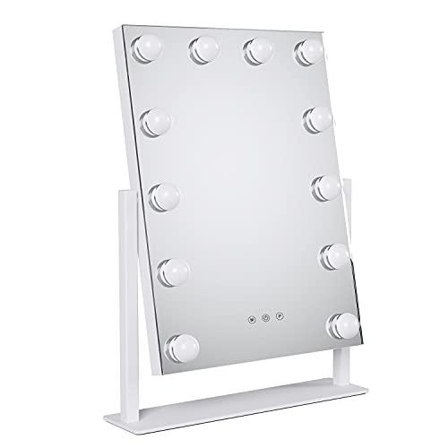 Hollywood Espejo de Maquillaje con Luces LED Espejo de Tocador Espejo Cosmético de Mesa Iluminado con 12 Bombillas Regulables y Diseño de Control Táctil de 3 Modos 35.5x8x47.5cm