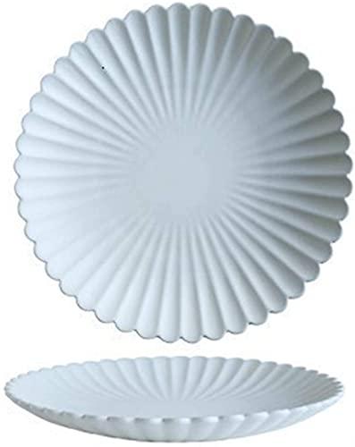KMILE Plato de cerámica simple de color blanco con forma de crisantemo, placa de cerámica para el hogar, vajilla de aperitivos, platos fríos surtidos (color: blanco, tamaño: 26 cm)