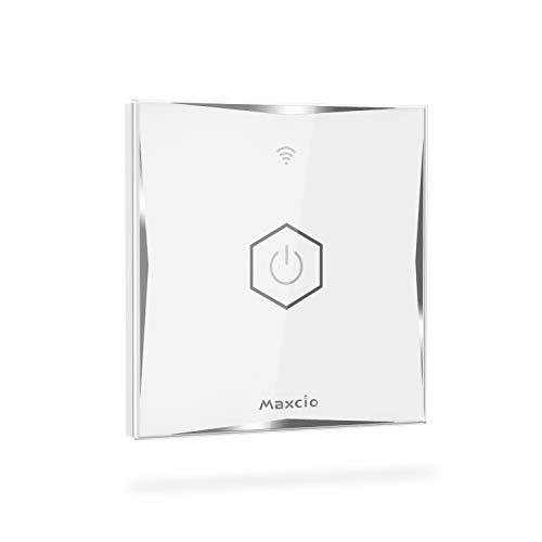WiFi Interruptor de Luz 2 Vías, Maxcio Conmutador Táctil WiFi Compatible con Alexa Echo/Dot/Tap, Google Home, Interruptor de Pared Inteligente con Temporizador【Se necesita Neutro】