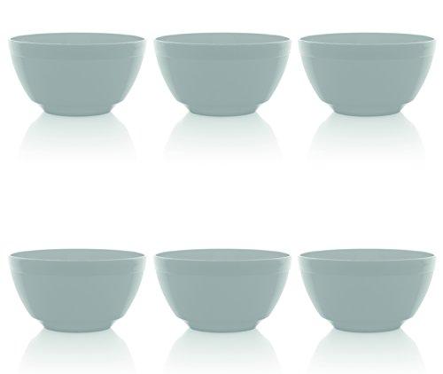 Ou Premium Design- Unbreakable Luna Bowls, Set of 6 (17 oz, White)