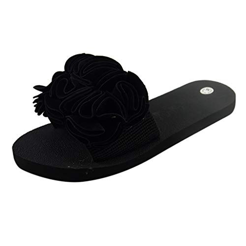 Zapatos de Playa Antideslizantes Sandalias Planas de Flores Bohemias para Mujeres de Yvelands Zapatos de Playa Antideslizantes(Negro,36)