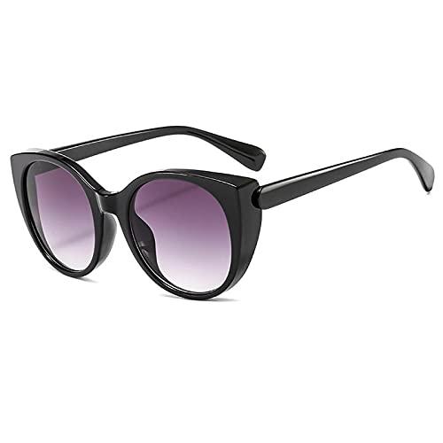 WANGZX Gafas De Sol De Ojo De Gato para Mujer Gafas De Sol De Cristal para Mujer Gafas De Sol De Cristal para Mujer Gafas Uv400 C1Negro-Gris