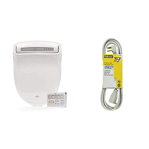 Bio Bidet BB-1000W Supreme Elongated Bidet Toilet Seat, White & Fellowes 1-Outlet 3-Prong Heavy Duty Indoor Extension Cord, 9 Feet - 99595