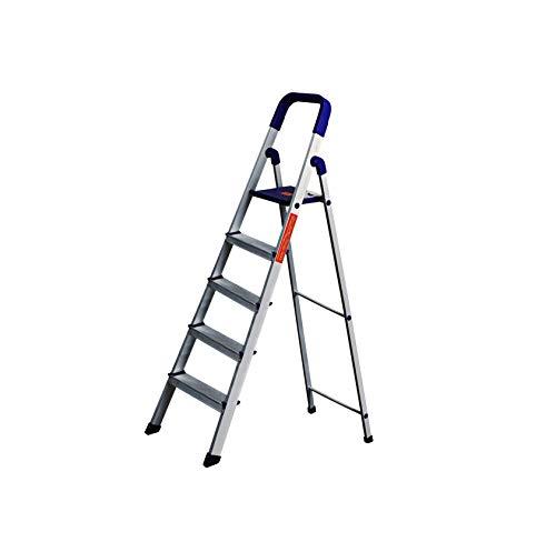 CIPLA PLAST High Strength Heavy Duty Multipurpose Folding Aluminium Ladder with Platform - Home Pro 5 Steps (5 Years Warranty)