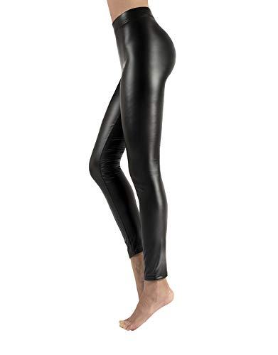 CALZITALY Leggings Felpato in Finta Pelle con Elastico Confort  Nero   XS, S, M, L, XL   Made in Italy (XS, Nero)