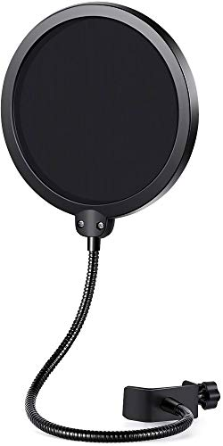 InnoGear Upgraded Microphone Pop Filter Mask Shield, Dual Layered Wind Pop Screen with Flexible 360