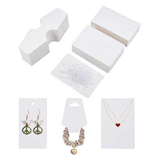 PandaHall Juego de 400 Piezas de exhibición de Joyas, 100 Tarjetas de exhibición de Collares de Papel, 100 Tarjetas de Embalaje de Pendientes, 200 Piezas de plástico Transparente para Pendientes