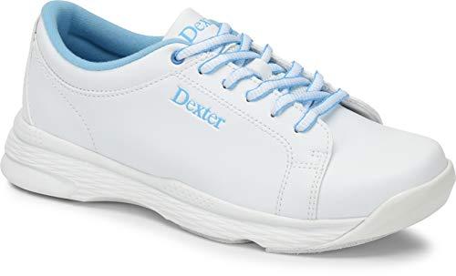 Dexter Raquel V - Weiß/Blau, Bowling-Schuhe Damen, für Rechts- und Linkshänder in den Schuhgrößen 35-41 und Mein-Bowlingshop.de Schuhtasche. Größe 38