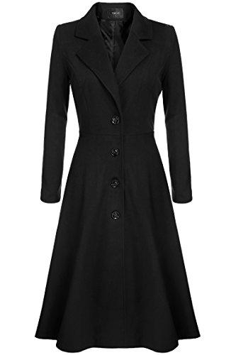 Nessere Women Walker Wool Coat Single Breasted Plus Size Long Trench Overcoat Maxi Walking Jacket