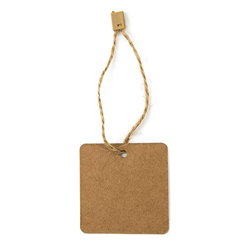 Square Kraft Paper Tags with String - 100 Kraft Tags and 100 Hemp Twine Fasteners with Plastic Lockers - Price Tags with String Attached - Gift Tags with Twine