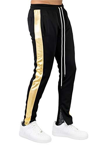 BLEECKER & MERCER Mens Hip Hop Premium Slim Fit Drawstring Track Jogger Pants Side Stripe Taping Zipper Bottom (P805A-BLACK/Gold Side, L)