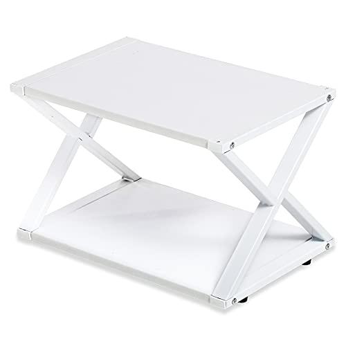 FITUEYES Soporte para Impresora X Estructura Madera Blanco 2 Capas Organizador de Escritorio para Oficina Casa45.5x30.3x29.7cm DO204505WW