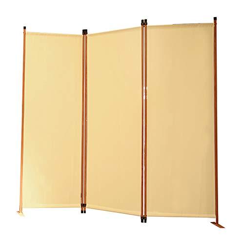 Angel Living Biombo Separador de Habitación de 3 Paneles, Decoración Elegante, Separador de Ambientes Plegable, Divisor de Habitaciones, para el Hogar, 169X165 cm (Beige)