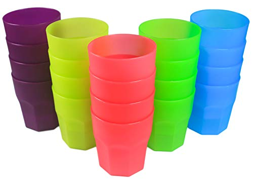 Honla Set of 20 Plastic Tumblers,12oz Unbreakable Small Cups in 5 Assorted Colors