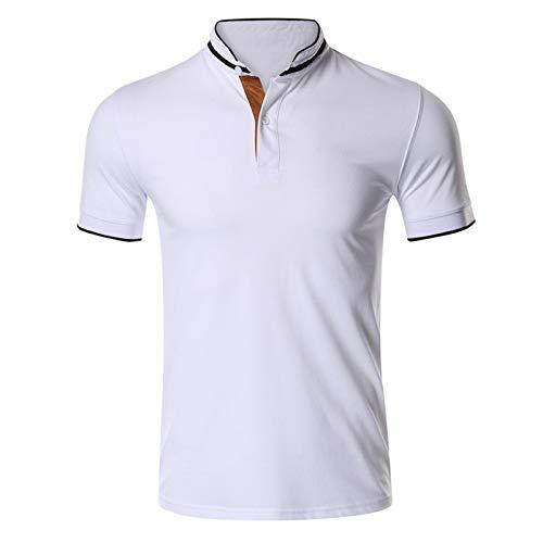 SSBZYES Herren Stehkragen T-Shirt Herren Kurzarm T-Shirt Herren Polo Shirt 100% Baumwolle Herren Kurzarm Golf Paul Revers T-Shirt