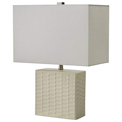 Amazon Brand – Stone & Beam Modern Square Textured Lamp With LED Light Bulb - 15 x 8 x 20.3 Inches, White