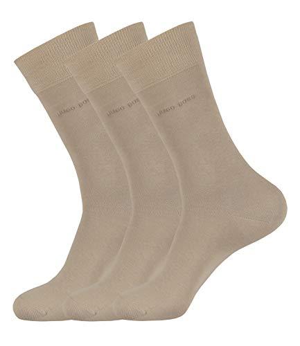 Hugo Boss Herren Socken Strümpfe Business George RS Uni 50388433 3 Paar, Farbe:Beige, Größe:43-44, Menge:3 Paar (3x 1 Paar), Artikel:-261 medium beige
