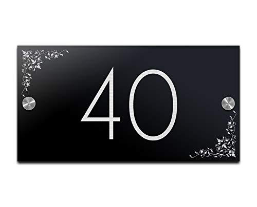 Huisnummer, deurbordje met gravure van hoogglans-acrylglas, plaatje voor familie-huis, naamplaatje, deurbordje voor de voordeur, 23 x 12 cm