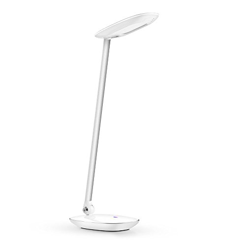AVANTEK LED 10W Dimmbare Schreibtischlampe Tischleuchte, 3 Helligkeitsstufen | Verstellbarer Hals & Kopf | Augenschutz | Touchfeldbedienung | USB Anschluss, Weiß
