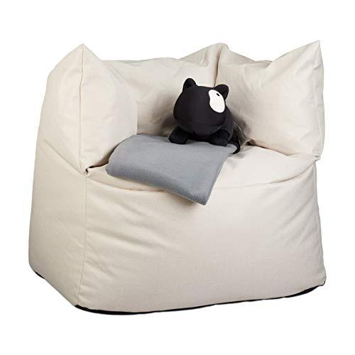 Relaxdays Sitzsack XXL, Bodenkissen zum Liegen, Leinen-Optik, Füllung, für Erwachsene, Riesensitzkissen 550 l, cremeweiß