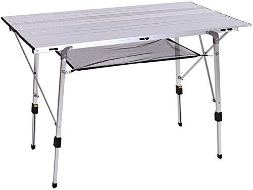 Picknicktisch im Freien Höhenverstellbarer Aluminium-Klapptisch, Länge 1,2M / 3.93FT Outdoor Lightweight Roll-Top-Schreibtisch, mit unterem Speichernetz für Patio-Camping-Garten-Picknick Grill Party T