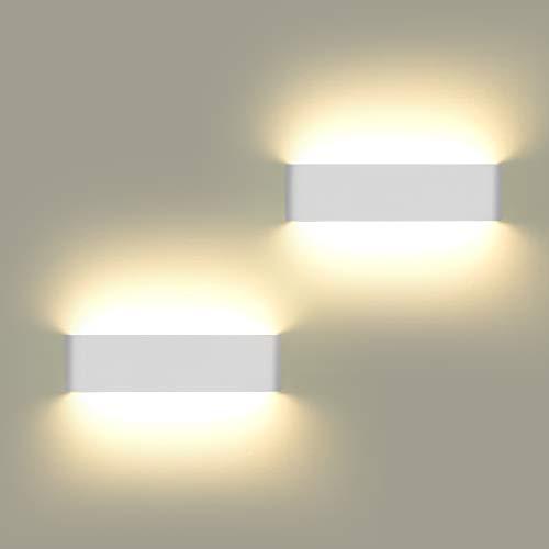 Lámpara de pared LED para interior, 2 unidades, 12 W, más brillante, moderna, perfecta para dormitorio, salón, escaleras y baño, luz blanca cálida