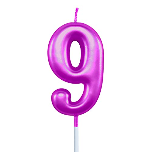 XNOVA 9th Birthday Candle Nine Years Purple Happy Birthday Number 9 Candles for Cake Topper Decoration for Party Kids Adults Numeral 90 59 29 91 94 99