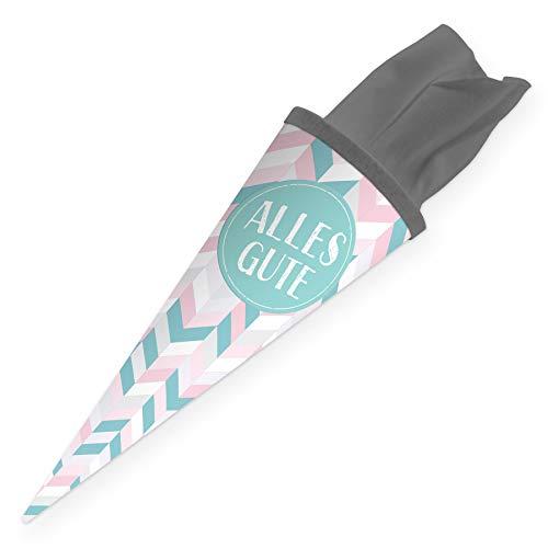 itenga Geschwisterschultüte 35cm Geschenkverpackung Schultüte Zuckertüte klein für Erwachsene Kinder Party (Streifen mit Text Alles Gute)