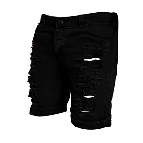 Kurze Hose Badehose Herren Shorts MäNner Vintage Mode Badeshorts ReißVerschluss Casual Jeans Destroyed Knielange Loch Ripped Schwimmhose Laufshorts(M, Schwarz)