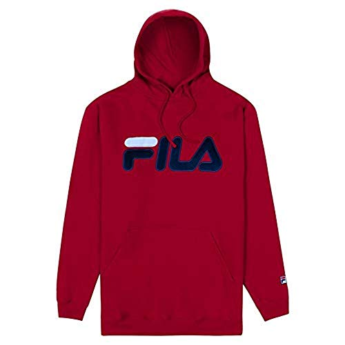 Fila Mens Big and Tall Premium Pullover Fleece Hoodie Sweatshirt Red