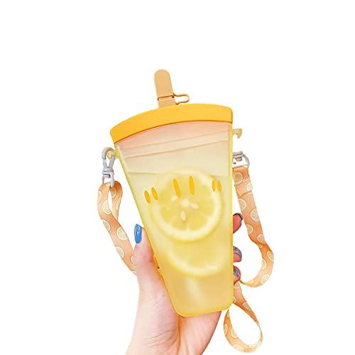 Botellas de agua lindas de 350 ml con pajitas, tazas de agua con correa, taza de jugo linda perfecta para niños adultos (naranja)