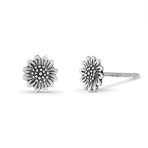 Boma Jewelry Sterling Silver Sunflower Stud Earrings