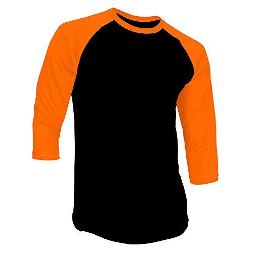 New Light 3/4 Sleeve Plain T-Shirt Baseball Tee Raglan Jersey Sports Men's Tee (XXXL, Black Orange)