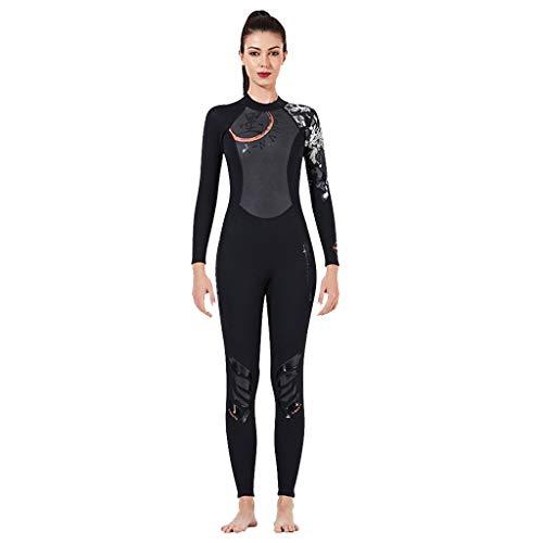 HWTOP Bademode Damen Siamesischer Taucheranzug Schnorchel Surfen Schwimmen Warm Halten Sunscreen Overall Jumpsuit Tauchen Coverall Anzug, Schwarz-2, X-Large