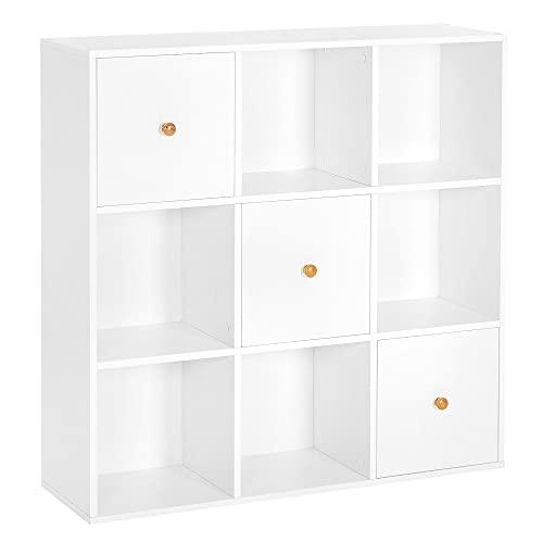 VASAGLE Libreria, Scaffale a 9 Cubi con 3 Ante, Organizzatore Portaoggetti per Ufficio, Studio, Soggiorno, Cameretta, Moderno, Bianco LBC034W01