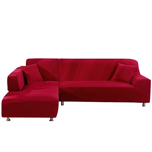 JuneJour JunJour Copridivano con Penisola Elasticizzato Chaise Longue Sofa Cover Componibile in Poliestere a Forma di L è Composto da 2PCS, Lavabile Fodere per Divano Angolare(Rosso,2 Posti+4 Posti)