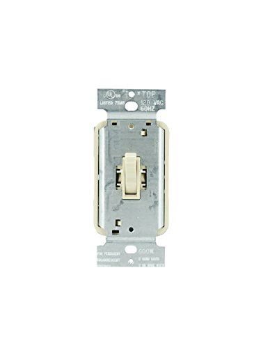 Legrand - Pass & Seymour T600IV Toggle Dimmer Light Switch 600-watt Single Pole Easy Install, Ivory