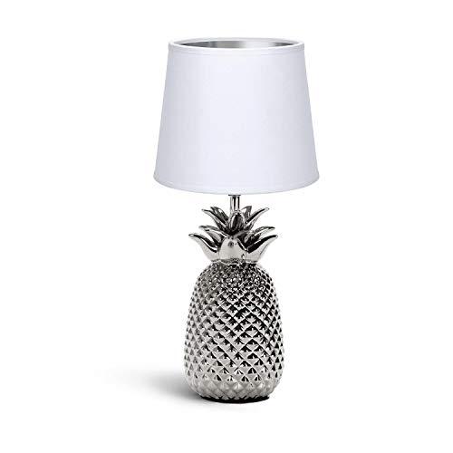Aigostar 197209 - Lámpara de Cerámica, casquillo E14. Forma de piña, Plateado. Lámpara de Mesa o Mesita de Noche, Pantalla de Tela, Lámpara Escritorio Diseño moderno para Dormitorio, Estudio, Salón