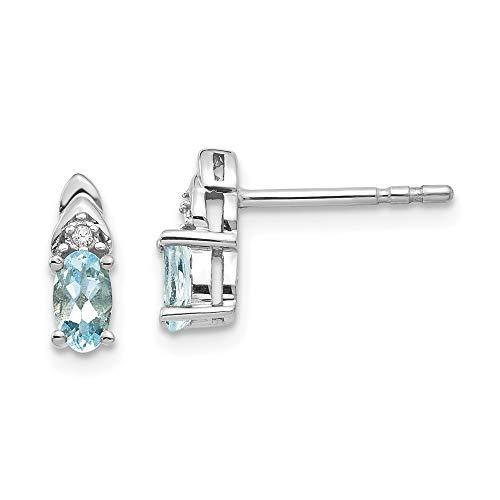 14ct blanco de auténtica aguamarina de diamante Juego de pendientes de aterrizar - JewelryWeb
