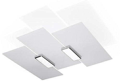 NOVITÀ! Plafoniera Cromo per salotto e corridoio - vetro e metallo - SOLLUX FABIANO SL.0198 lampada a muro quadrata, stile classico, a 3 luci LED E-27 *** LAMPADE - I prezzi più bassi su Amazon!