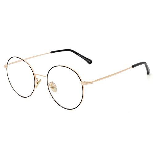 Cyxus Óculos de luz azul metal redondos vintage armação de óculos para Feminino/Homens ,Anti-ultravioleta e anti-reflexo