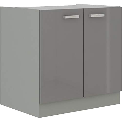 Spülen Unterschrank 80 Hochglanz Grau Küchenzeile Küchenblock Küche Grey Bianca