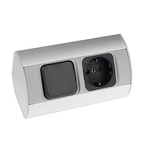Enchufe con interruptor/interruptor de luz para la cocina y la oficina - enchufe angular de alta calidad de aluminio ideal para la encimera, enchufe de mesa o enchufe de | 1x Schuko, 1x interr