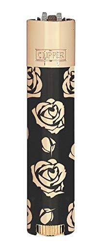 HIBRON Clipper 1 Encendedor Mechero Clásico Largo Metal Rose & Black Rosa y Negro Y 1 Llavero Gratis