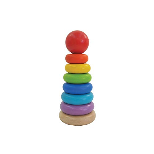 PlanToys Wooden 8 Piece Sorting and Stacking Ring Toy (5124) | Rainbow Color...