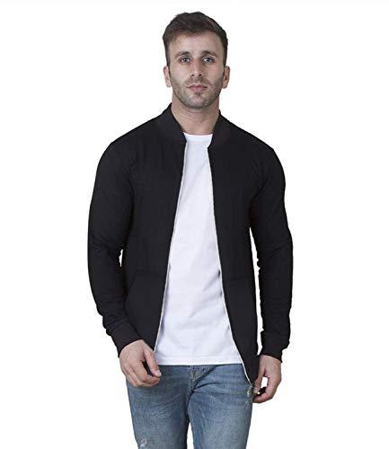 AWG Men's Cotton Regular Fit Solid Varsity Jacket – Black