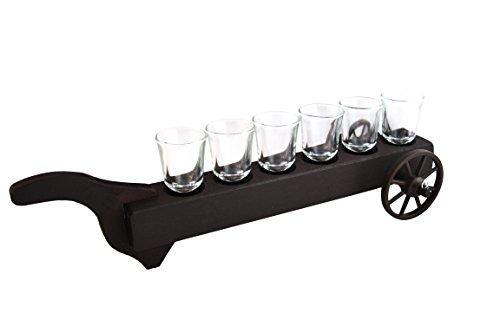 Craftsmagic Lot de 6 x 50 ml Verres à shot Brouette fait à la main en bois Idée de cadeau de support