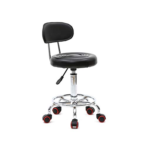 Salon Stool with Backrest Stool Chair Hydraulic Ergonomic Round Shape Adjustable Salon Stool with Back & Line for Tattoo Massage Facial Spa Manicure Dentist Clinic Black