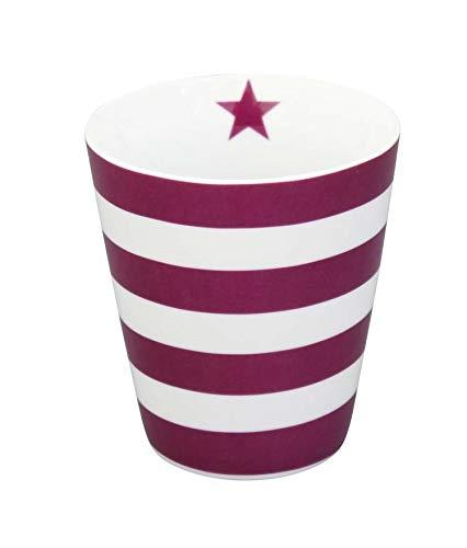 Krasilnikoff - Becher/Tasse/Happy Cup - Blockstreifen- gestreift - lila/weiß - Porzellan - 250 ml