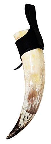 Cuerno vikingo de asta genuina. con diseño de cola de pez de 12cm en la parte inferior y colgador de piel auténtica para el cinturón. De varios tamaños, de 34 a 41cm, etc.